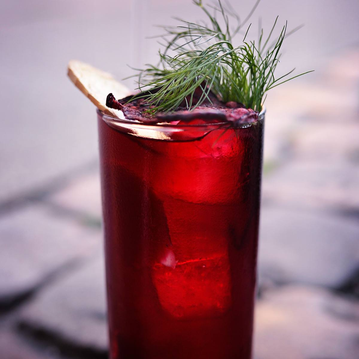 Beetroot basher from Duck and Cover - one of the best cocktail bars in Copenhagen, photo by Alexander Banck Petersen, photographer for Cocktails of Copenhagen