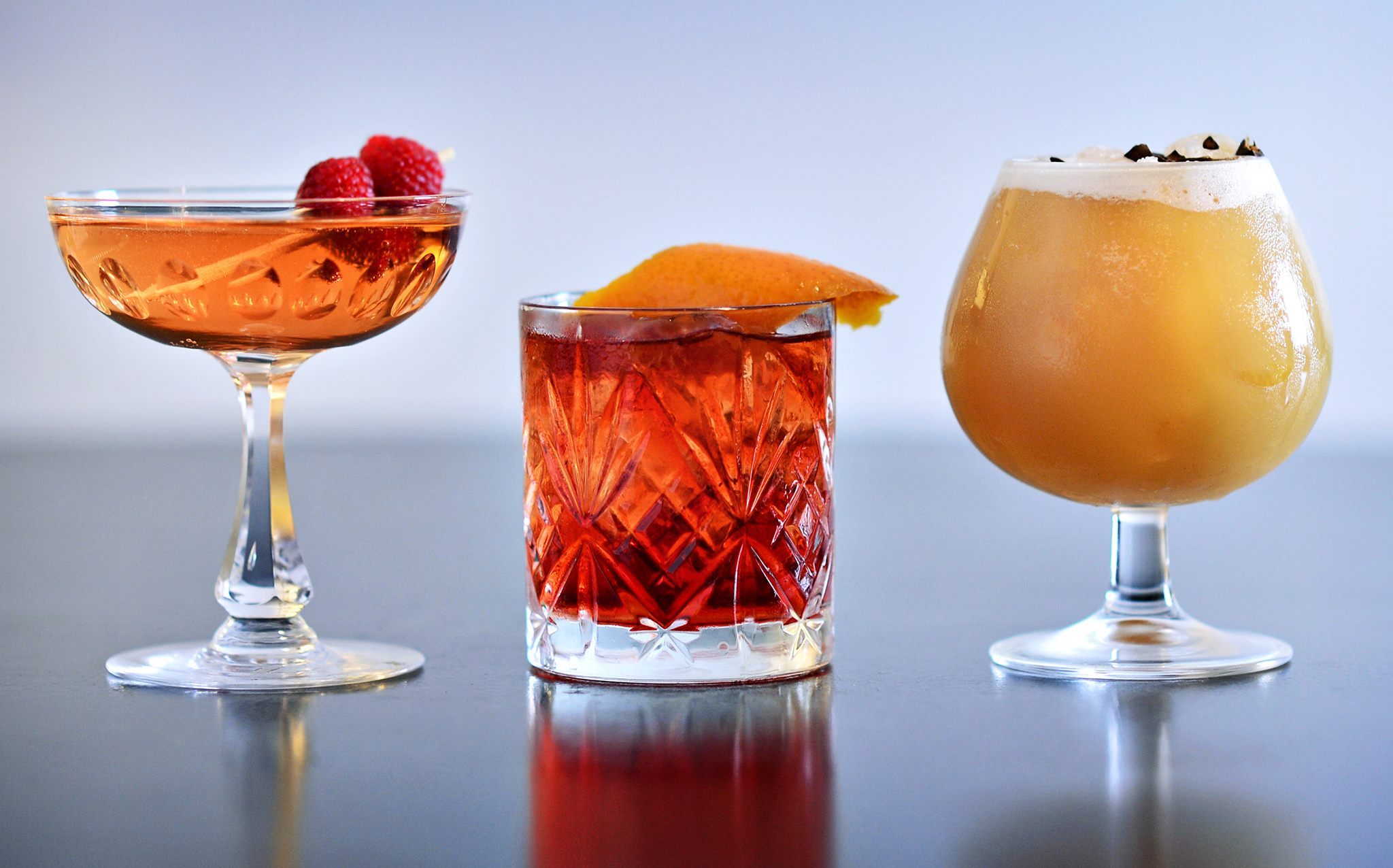 New Years cocktail menu by Cocktails of Copenhagen: Queen's Peach, Geranium Negroni & Mexican New Year's Resolution. Photo by Alexander Banck Petersen.