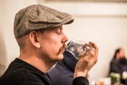 Carl Wrangel from the Barking Dog tasting Teeling Whiskey